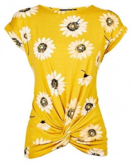 Dorothy Perkins Yellow Twist Front Daisy Print T-Shirt