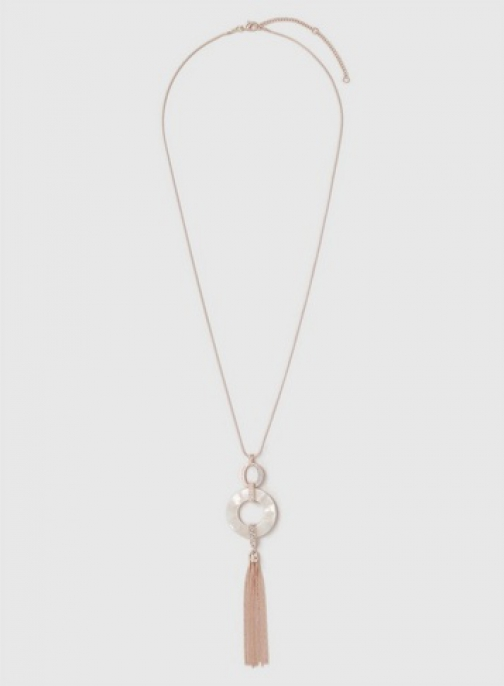 Dorothy Perkins Rose Gold Rhinestone Tassel Drop Necklace