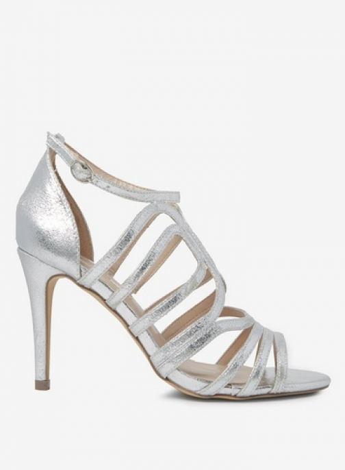 Dorothy Perkins Womens Silver 'Blossom' Caged - Silver, Silver Heeled Sandal