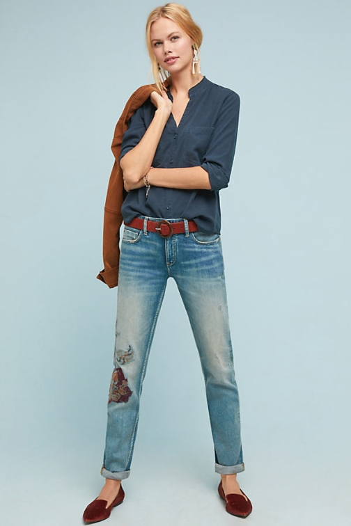 Pilcro And The Letterpress Pilcro Mid-Rise Patchworked Slim Boyfriend Jeans