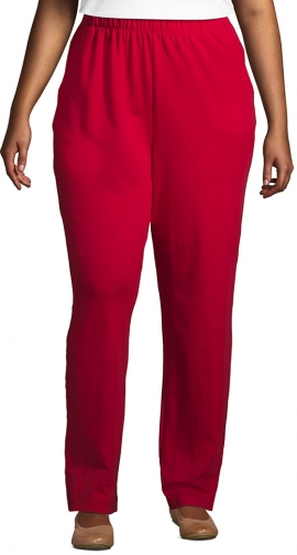 Lands' End Women's Plus Size Sport Knit High Rise Elastic Waist Pull On Pants - Lands' End - Red - 1X Trouser