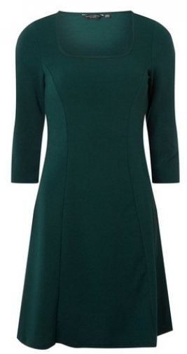 Dorothy Perkins Womens Green Square Neck 3/4 Sleeve Fit And Flare - Green, Green Dress
