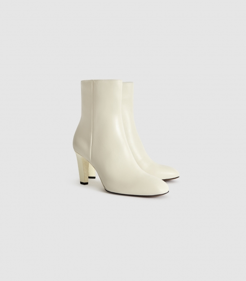 Reiss Sophia - Leather With Snake Detail Ivory, Womens, Size 4 Ankle Boot