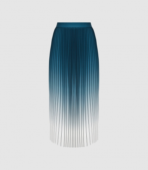 Reiss Mila - Ombre Pleated Teal, Womens, Size 4 Midi Skirt