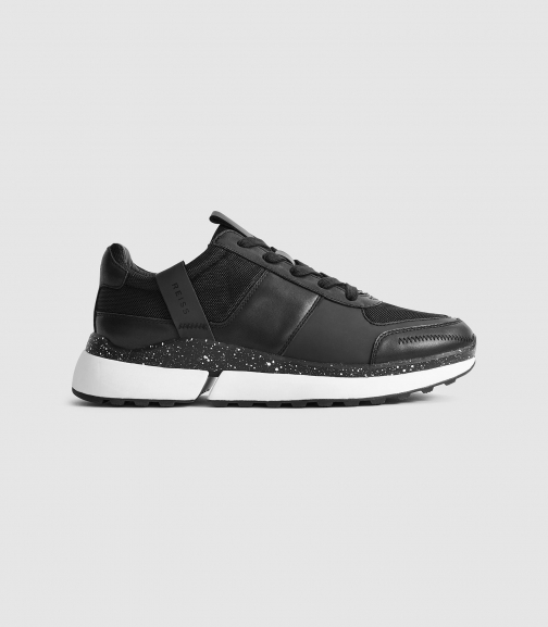 Reiss Ethan - Leather Black, Womens, Size 7 Trainer