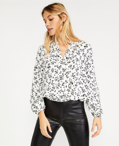 Ann Taylor Petite Floral Cinched Waist Top Shirt