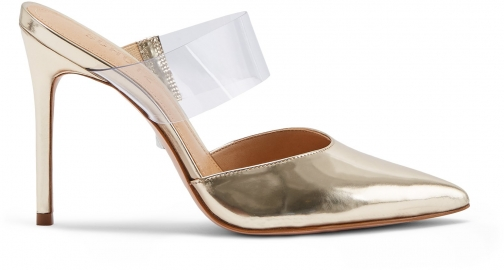 Schutz Shoes Sionne Mule - 6 Platina Gold Specchio Leather Shoes
