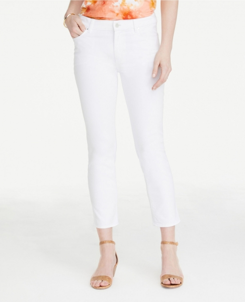 Ann Taylor Straight Crop White Jeans