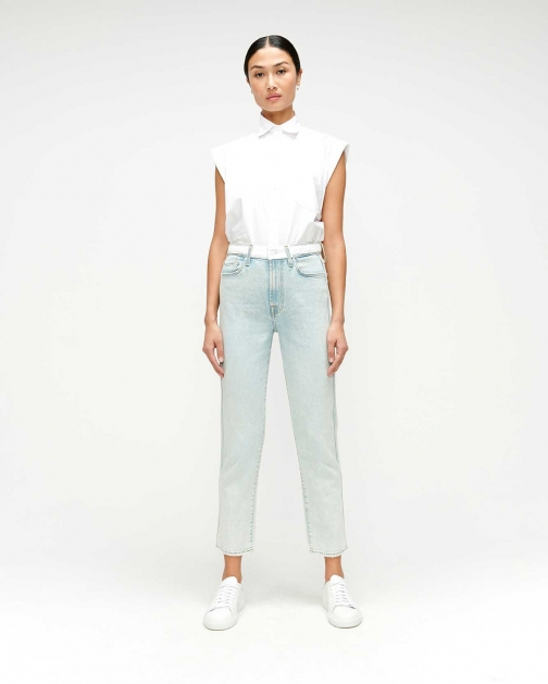 7 For All Mankind Womens High Waist Cropped Straight With Braided Grand Street Size: 25 Belt