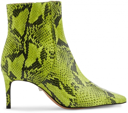 Schutz Shoes Bette - 5 Neon Yellow Snake Snake Embossed Leather Boot