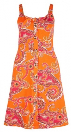 Dorothy Perkins Orange Paisley Print Fit And Flare Dress