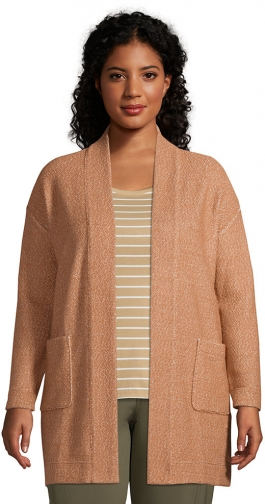 Lands' End Women's Plus Size Long Sleeve Textured Open - Lands' End - Brown - 1X Cardigan
