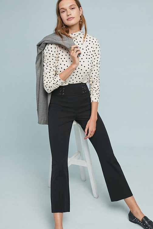 Anthropologie Essential Corset Cropped Flare Trousers Trouser