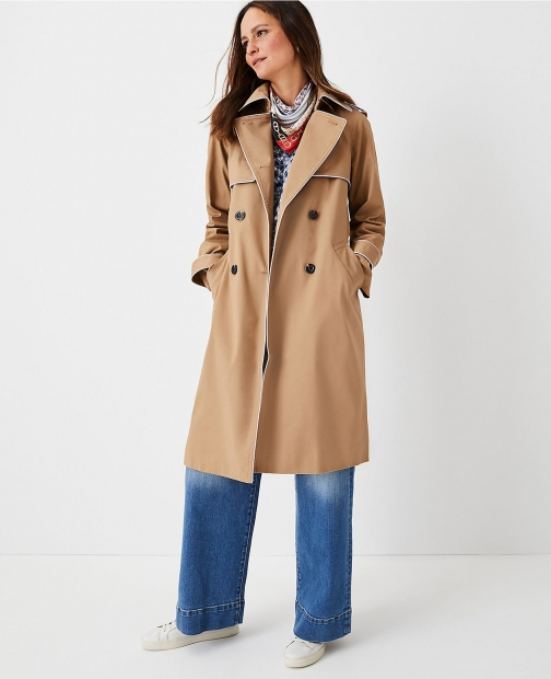 Ann Taylor Petite Tipped Twill Trench Coat