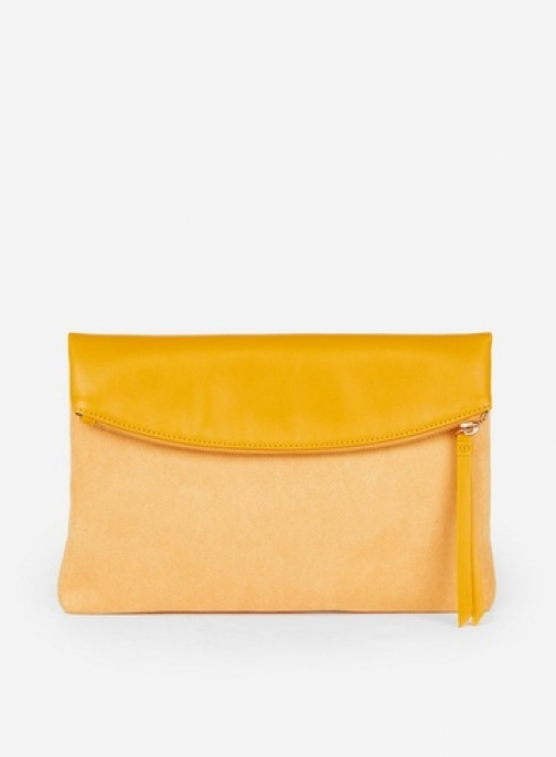 Dorothy Perkins Yellow Foldover Bag Clutch