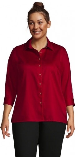 Lands' End Women's Plus Size 3/4 Sleeve Performance Twill - Lands' End - Red - 1X Shirt