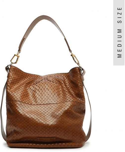 Schutz Shoes Mandy Snake-Embossed Leather Hobo - O/S Dark Caramel Snake Embossed Leather Bag