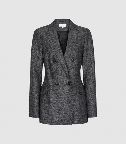 Reiss Ossie - Double Breasted Textured Navy, Womens, Size 4 Blazer
