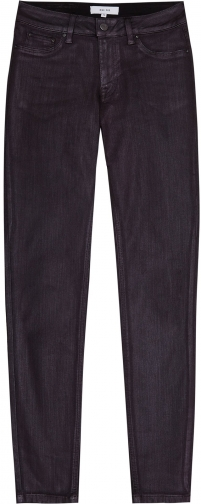 Reiss Lux Metallic - Metallic Mid Rise Berry, Womens, Size 32 Jeans