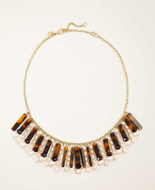 Ann Taylor Pearlized Tortoiseshell Print Fringe Necklace
