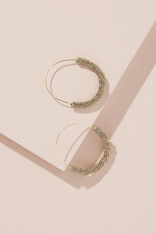 Anthropologie Larnie Pave Oversized Hoops Earring