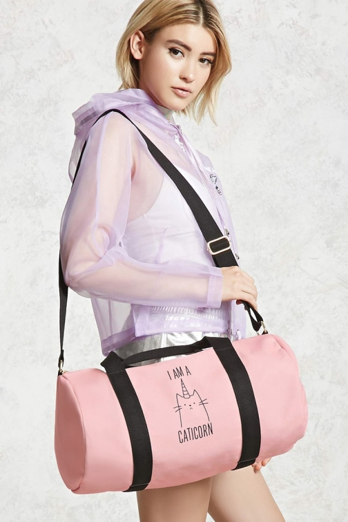 Forever21 Forever 21 I Am Caticorn Pink/multi Duffle Bag