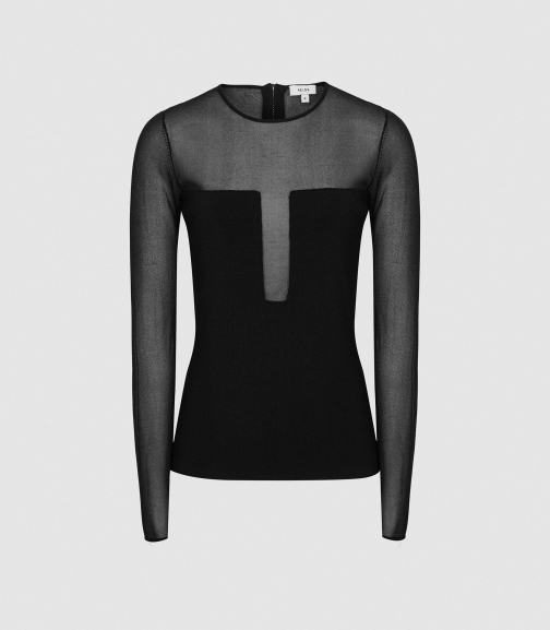 Reiss Lily - Semi Sheer Slim Fit Top Black, Womens, Size S Shirt