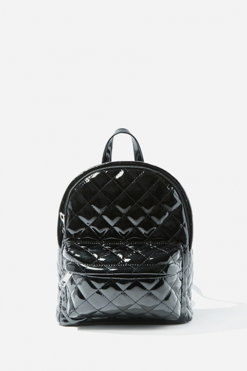 Forever21 Forever 21 Quilted Faux Patent Leather , Black Backpack