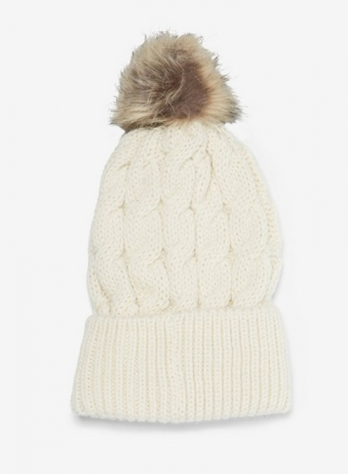 Dorothy Perkins Cream Cable Knit Pom Hat