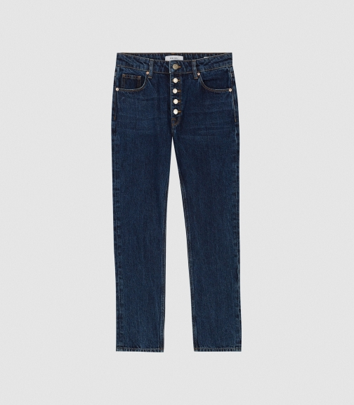 Reiss Blake - Mid Rise Dark Blue, Womens, Size 24 Cropped Jeans