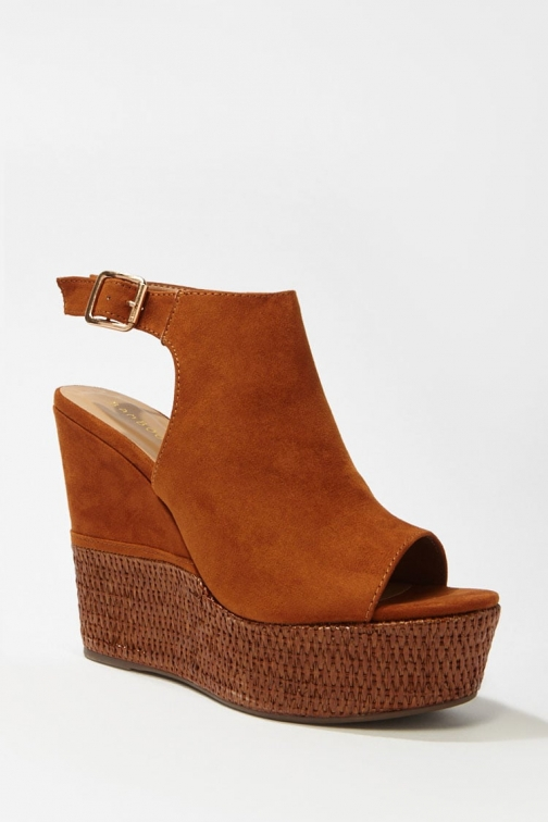 Forever21 Forever 21 Faux Suede Peep-Toe Wedges , Tan Espadrille