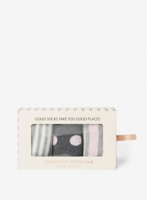 Dorothy Perkins Womens Multi Coloured 3 Pack Spot And Stripe A Box- Grey/Pink, Grey/Pink Sock