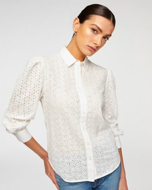 7 For All Mankind Puff Sleeve Eyelet White Shirt