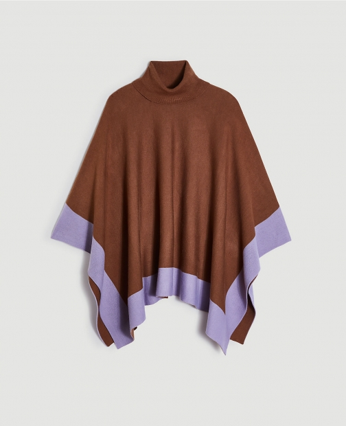 Ann Taylor Colorblock Turtleneck Poncho