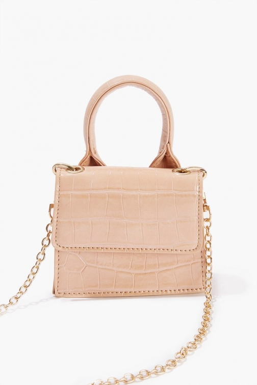 Forever21 Forever 21 Faux Croc Leather , Beige Crossbody Bag