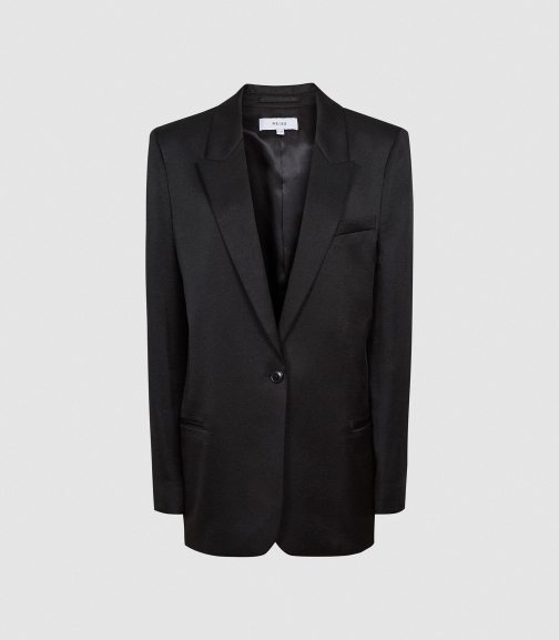 Reiss Beatrice - Satin Tailored Black, Womens, Size 6 Blazer