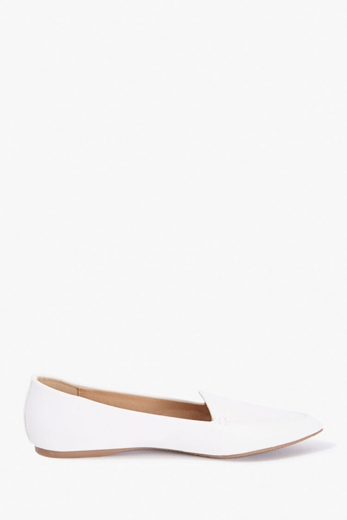 Forever21 Faux Leather Pointed Loafers At Forever 21 , White Shoes