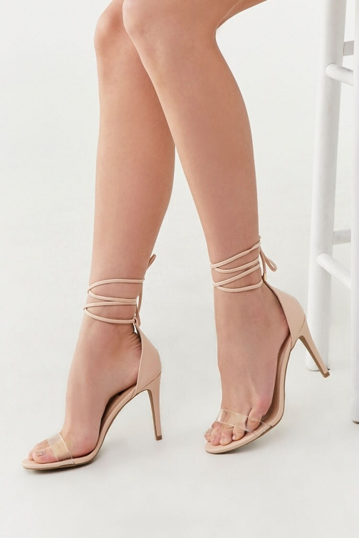 Forever21 Forever 21 Lace-Up Stiletto Heels , Nude Shoes