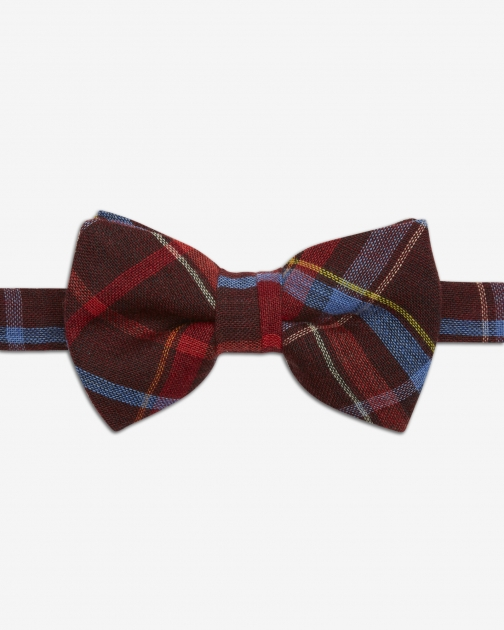 Ted Baker Plaid Wool Red Bow Tie