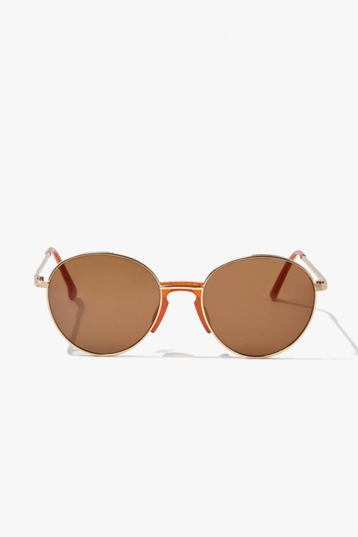 Forever21 Forever 21 Round Metal , Gold/brown Sunglasses