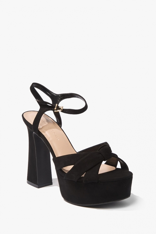 Forever21 Forever 21 Faux Suede Knotted Block Heels , Black Shoes