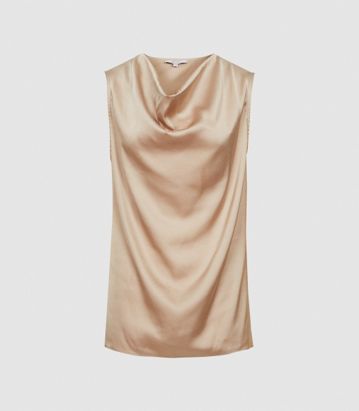 Reiss Lauren - Satin Cowl Neck Champagne, Womens, Size 8 Top