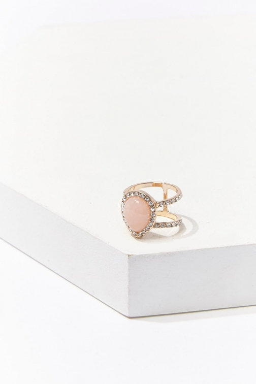 Forever21 Forever 21 Faux Gem , Gold/blush Ring
