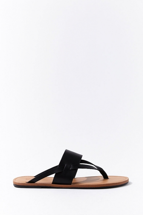 Forever21 Forever 21 Thong Faux Leather , Black Sandals