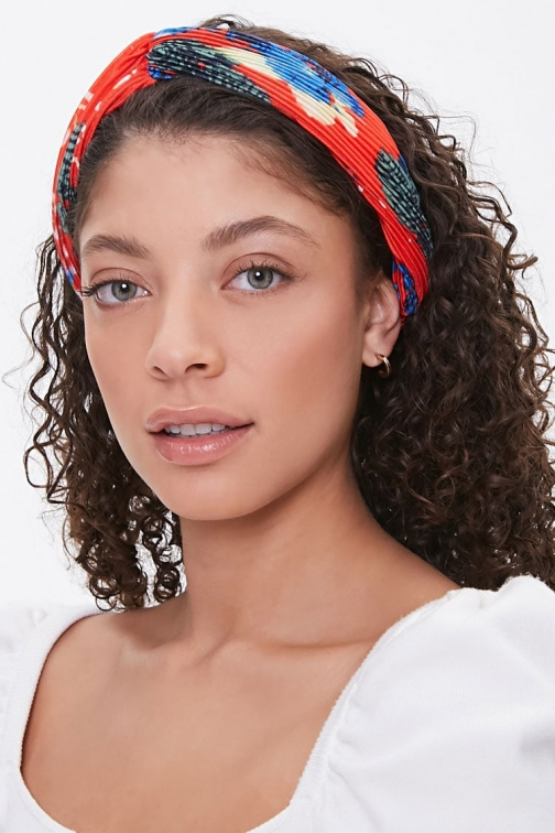 Forever21 Forever 21 Floral Accordion-Pleat Headwrap , Red/multi Headwear