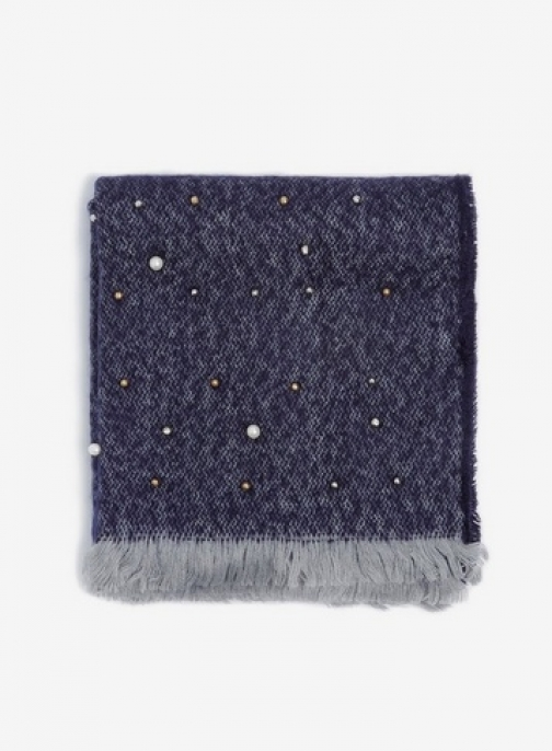 Dorothy Perkins Navy Pearl Embellished Scarf