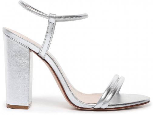 Schutz Shoes Gimenez Sandal - 5 Prata Silver Metallic Leather Sandals