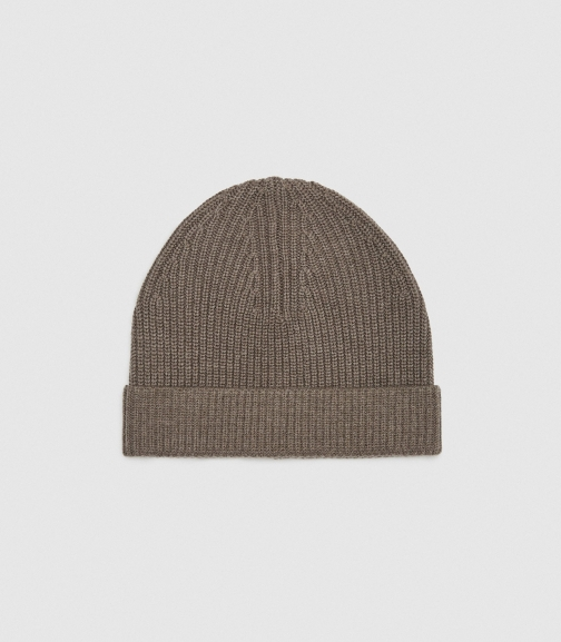 Reiss Raff - Ribbed Hat Taupe, Mens Beanie