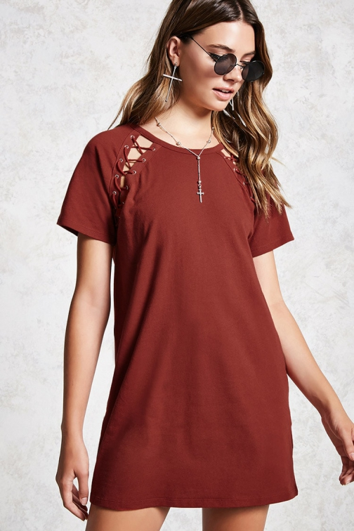 Forever21 Forever 21 Lace-Up T-Shirt Rust Dress