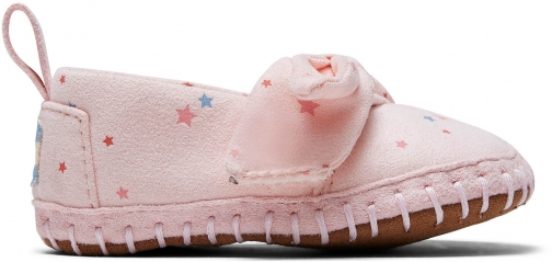Toms Ballet Pink Star Print Microsuede Tiny TOMS Crib Alpargatas Shoes
